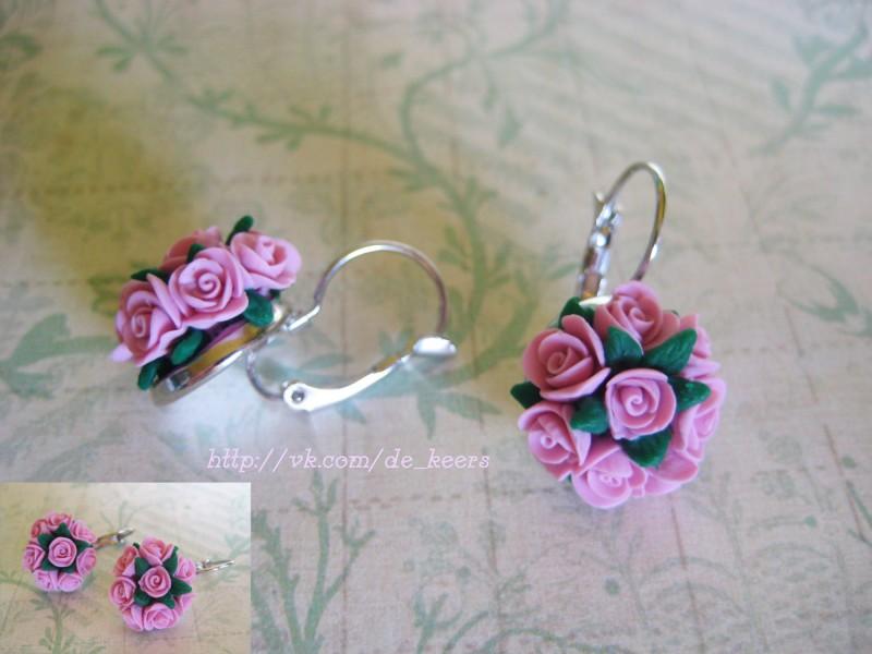 Серьги Букетики роз