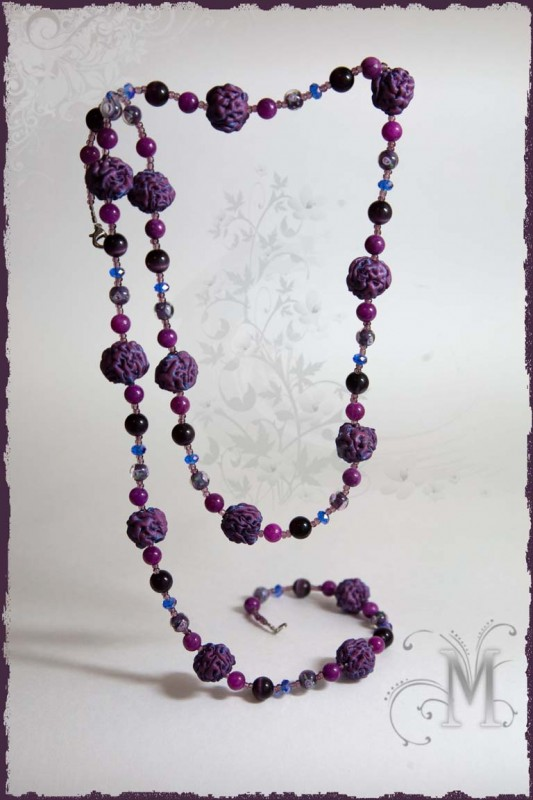 Текстильные бусы (комплект украшений) Турмалин