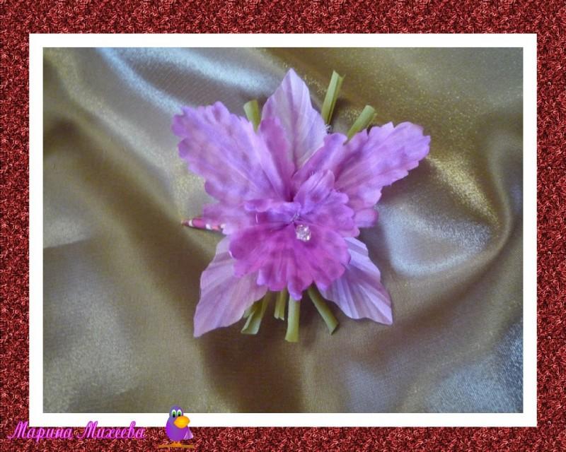 Заколка цветок Орхидея Фукси