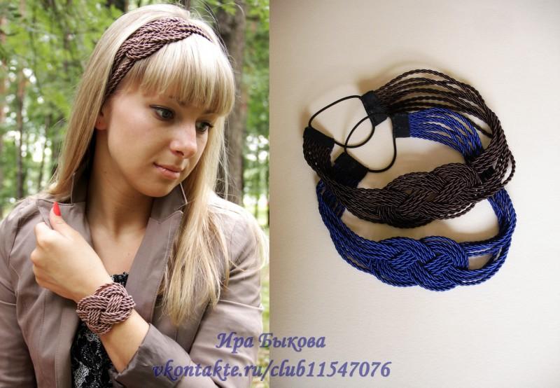 Комплект (ободок+браслет) Плетенка