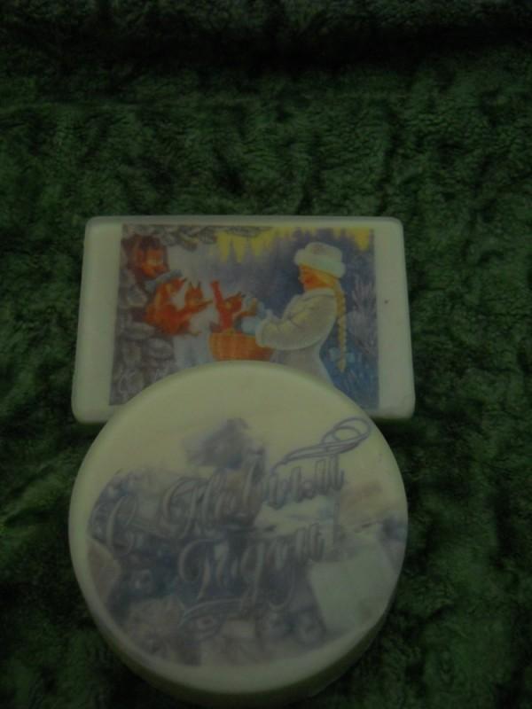 Новогоднее мыло с картинкой на водорастворимой бумаге