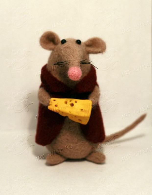 Авторская игрушка из шерсти Крыска с сыром