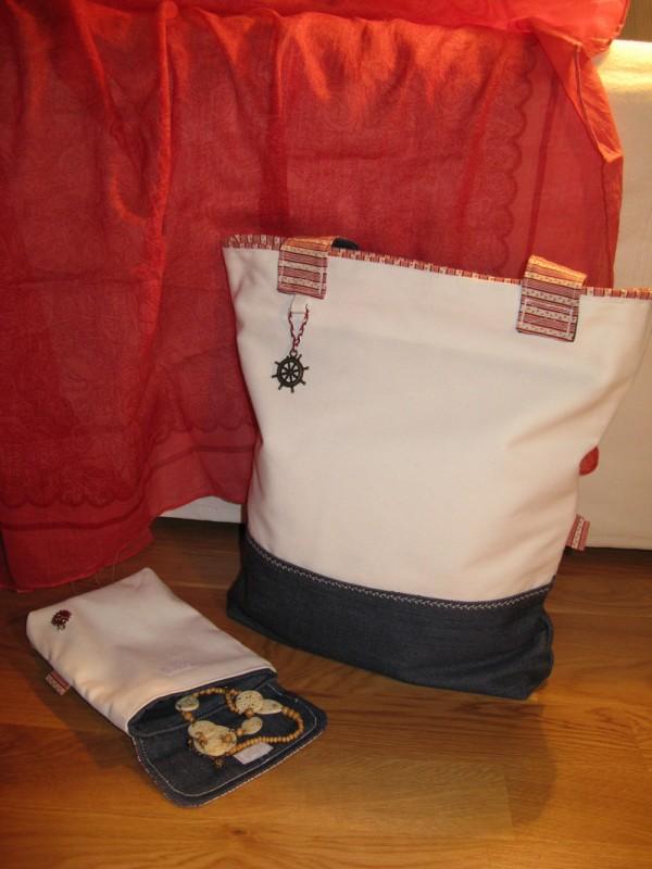 Комплект: сумка и косметичка в морском стиле