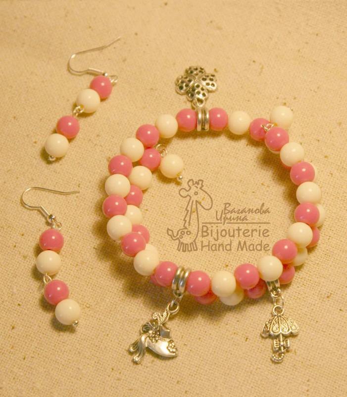 Комплект Бело-розовый