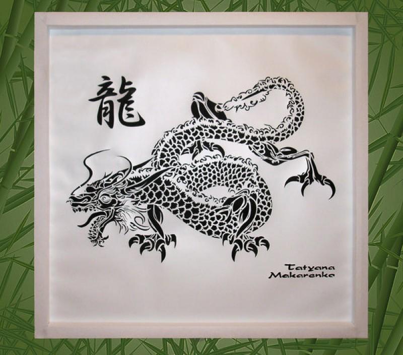 Картина Год дракона в технике цзяньчжи