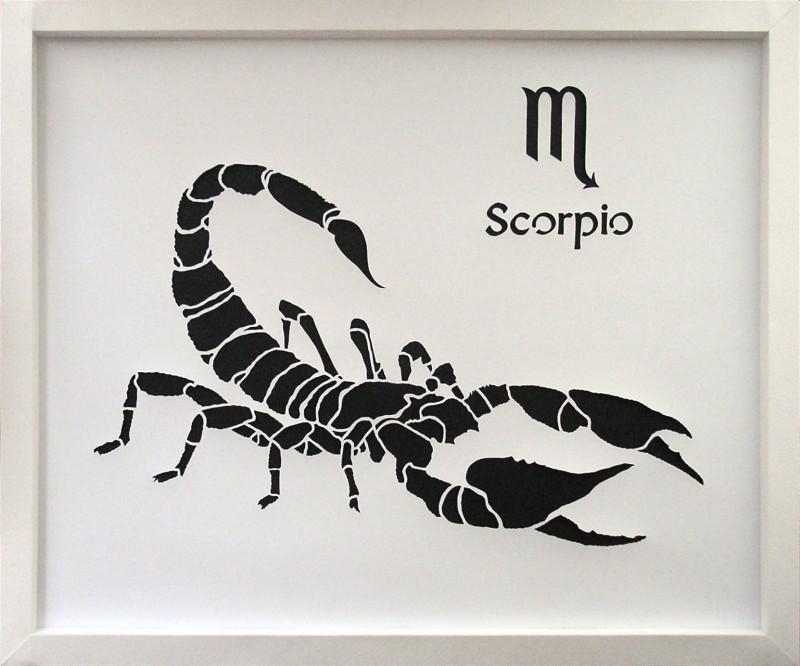 Картина Знак зодиака Скорпион в технике цзяньчжи