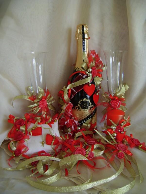 Свадебный набор Красное с золотом