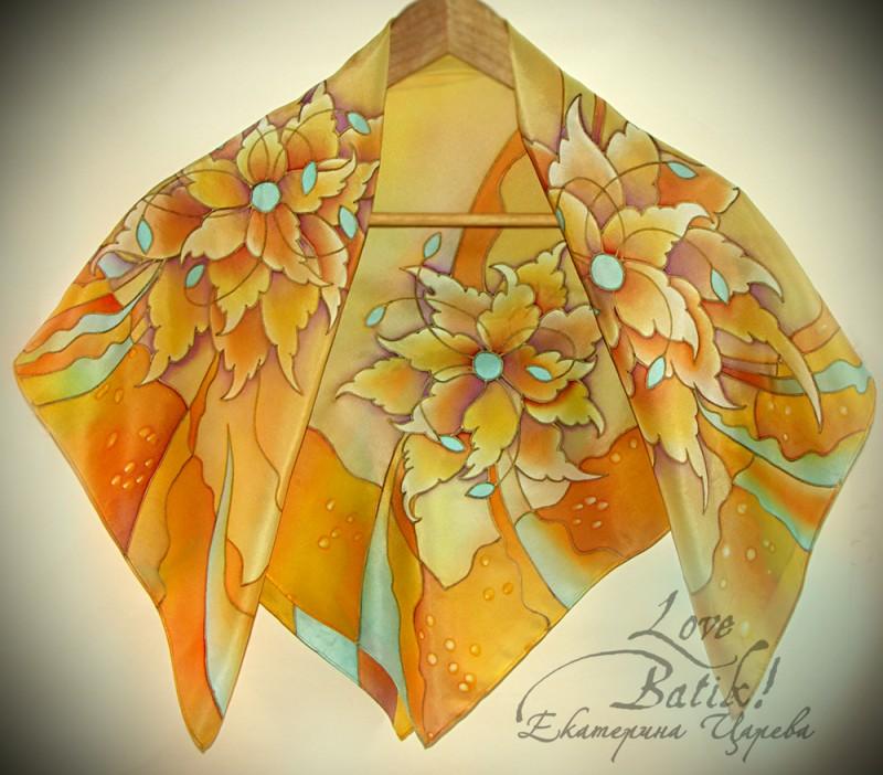 платок батик Бирюза и золото