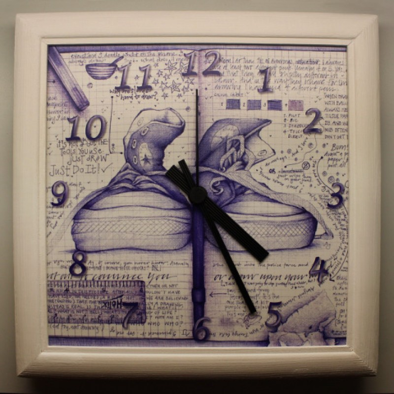 Часы из серии Рисунки шариковой ручкой