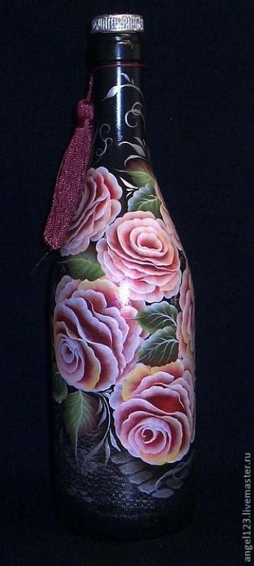 Бутылка для вина  Розы