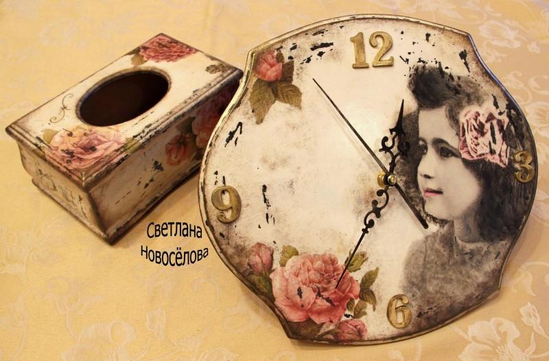 комплект в стиле шеби: часы + салфетница