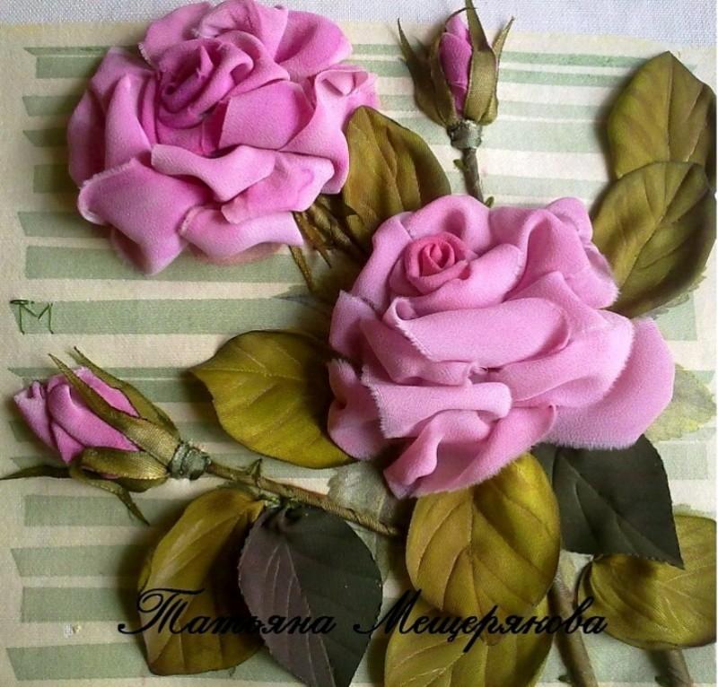 Розы Вышивка лентами по декупажу. (на заказ)