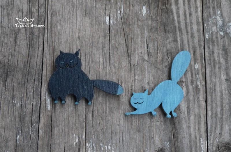 Броши Синие коты