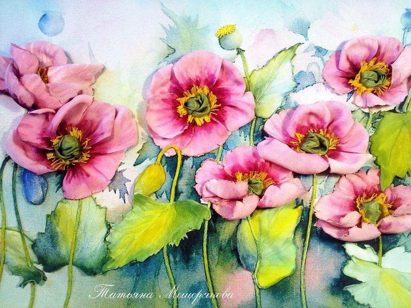 Вышивка лентами. Розовые маки (на заказ)