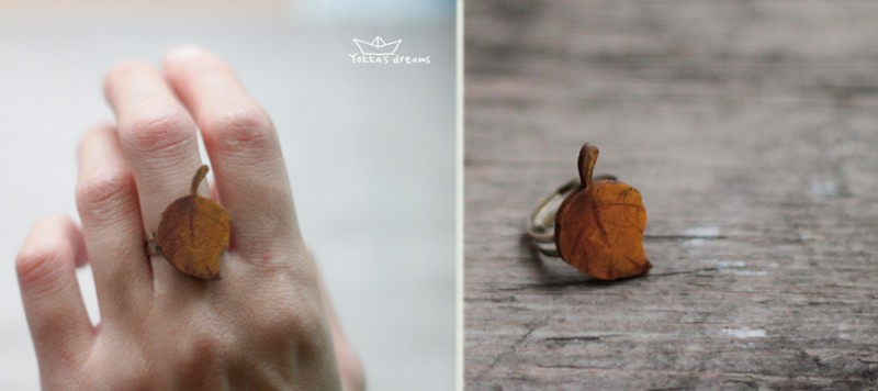 кольцо листик