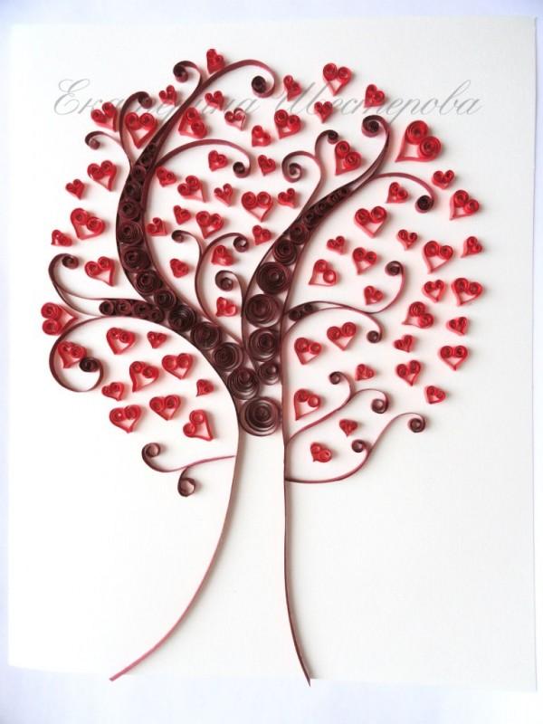 Любовное дерево в технике квиллинг!