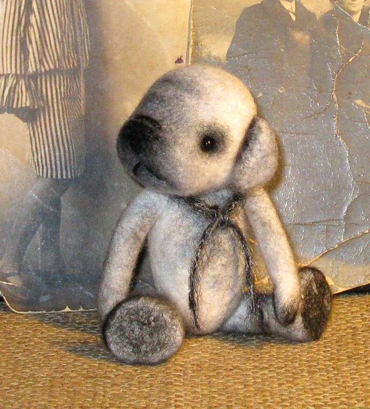 Щенок тедди Гриша. Валяная авторская игрушка.