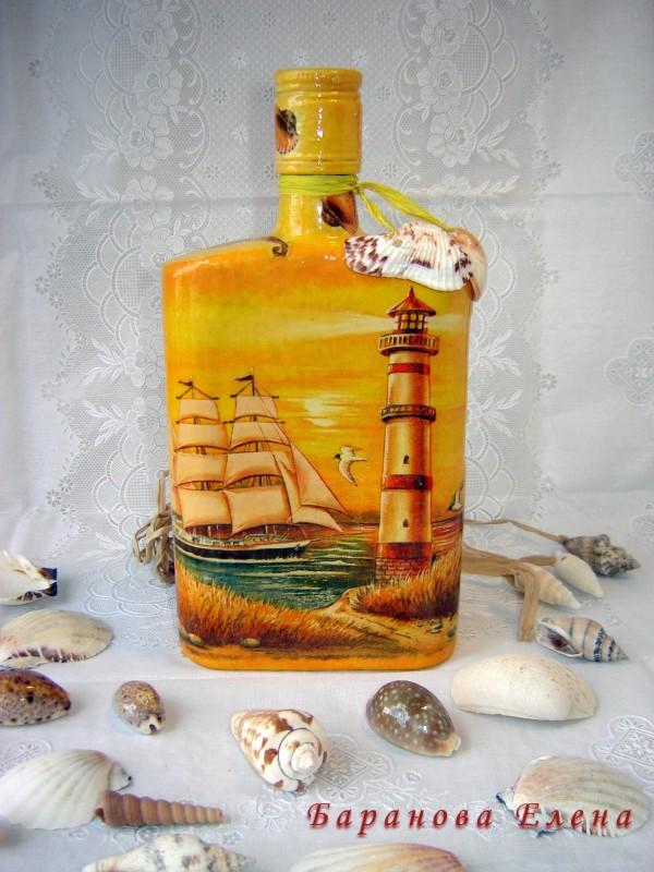 Декорированная бутылка  Закат над морем