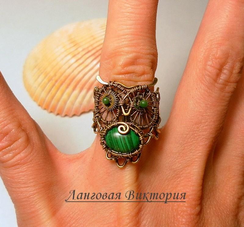 Перстень Малахитовая сова.