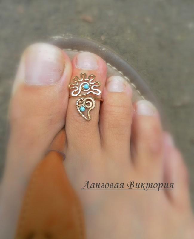 Колечко на палец ноги Цветочек-бронза.