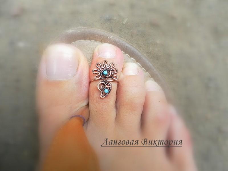 Колечко на палец ноги Цветочек-медный.