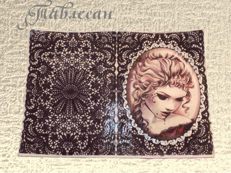 Обложка на паспорт Черное кружево декупаж