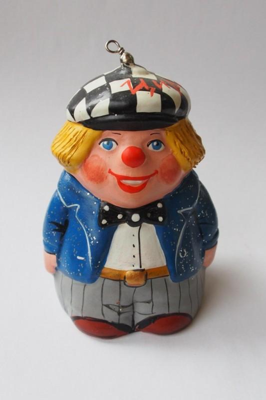 Керамический колокольчик Клоун в синем пиджаке