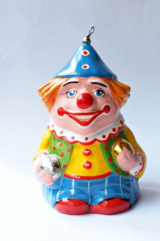 Керамический колокольчик Клоун с шарами в желтом