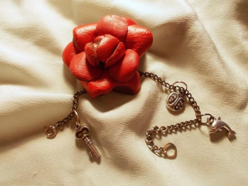 Браслет Цветы из кожи. Ключи природы.