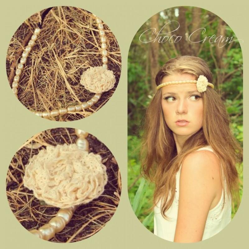 Повязка для волос  Жемчужный цветок