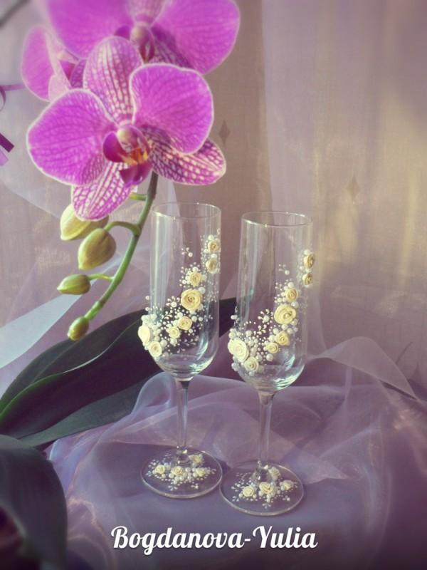 Свадебные бокалы Крем