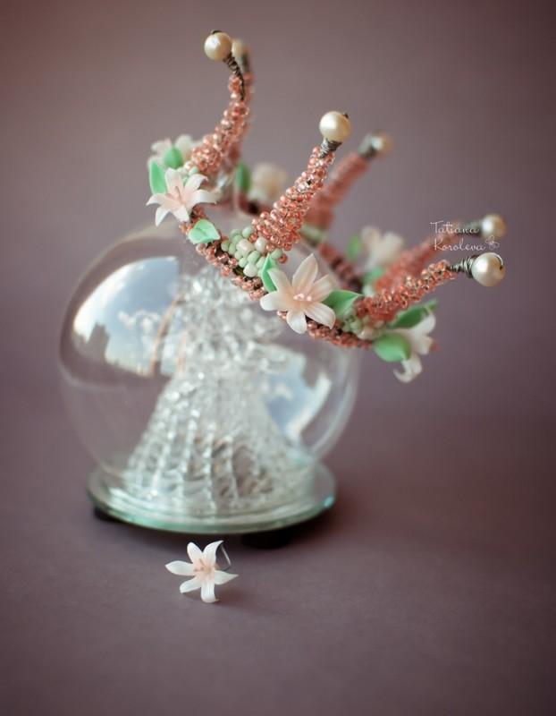 Жемчужно-цветочная корона Хочу быть принцессой