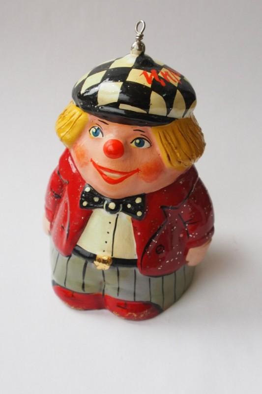 Керамический колокольчик Клоун в красном пиджаке