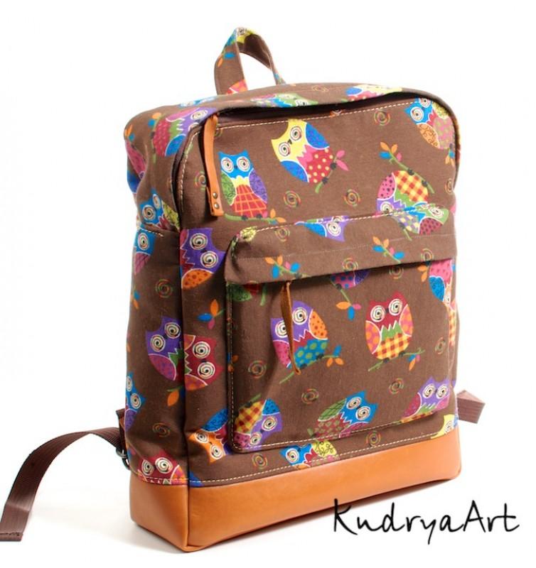 Рюкзак коричневый Совы