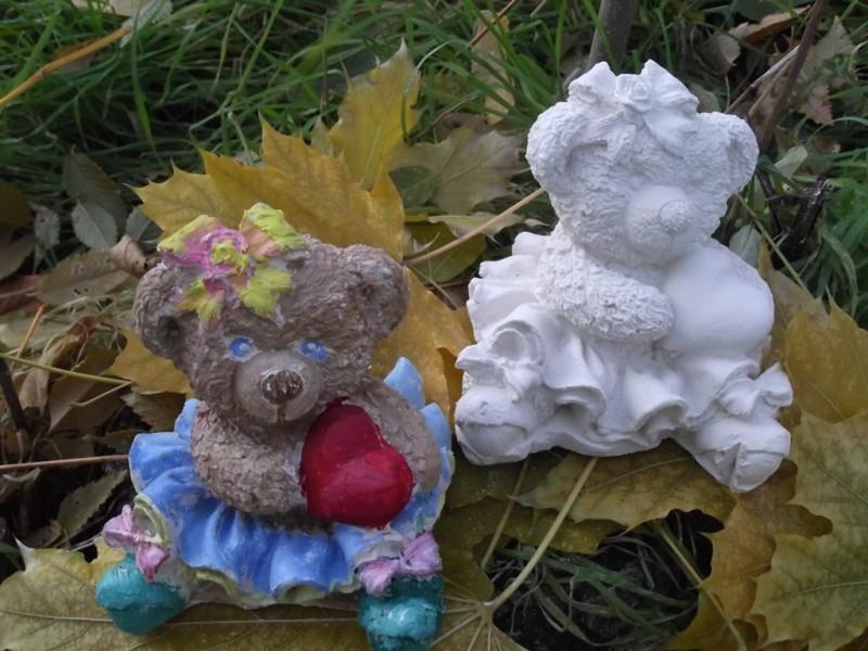 Гипсовая фигурка - раскраска Медвежонок в юбочке