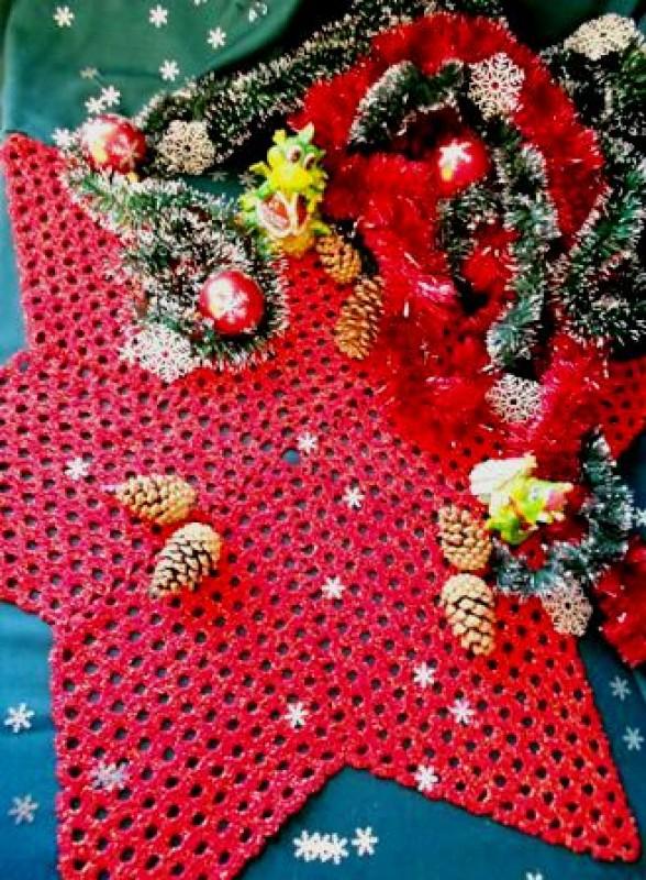 Новогодние вязаные салфетки