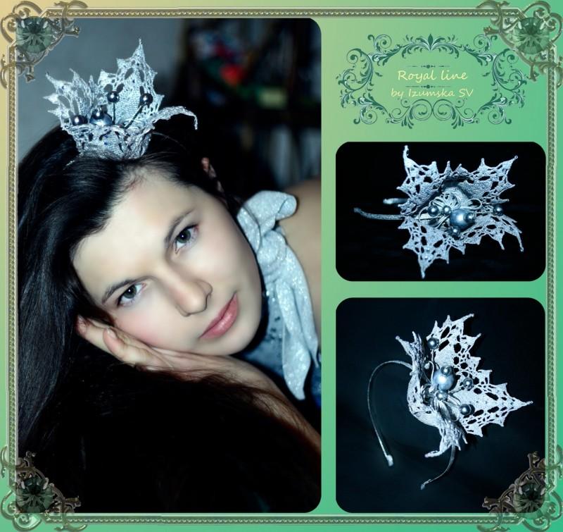Изящная корона на ободке из хлопковых кружев Bella