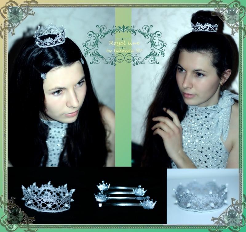 Корона из уникальных, редких кружев Vivien + невидимки с короной