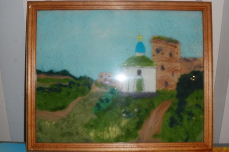 Шерстяная акварель картина Изборская крепость