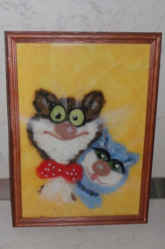 Картина шерстяная акварель Влюбленные котики