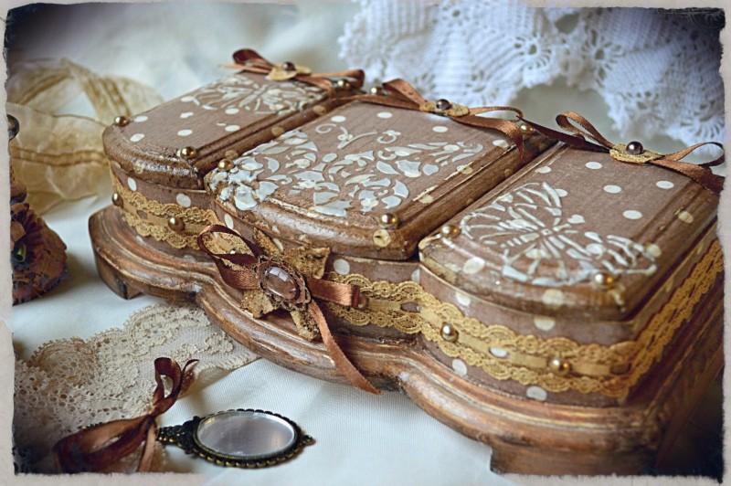 Подарочный набор Вивьен ( шкатулка - триптих и лампо свечи.Винтаж