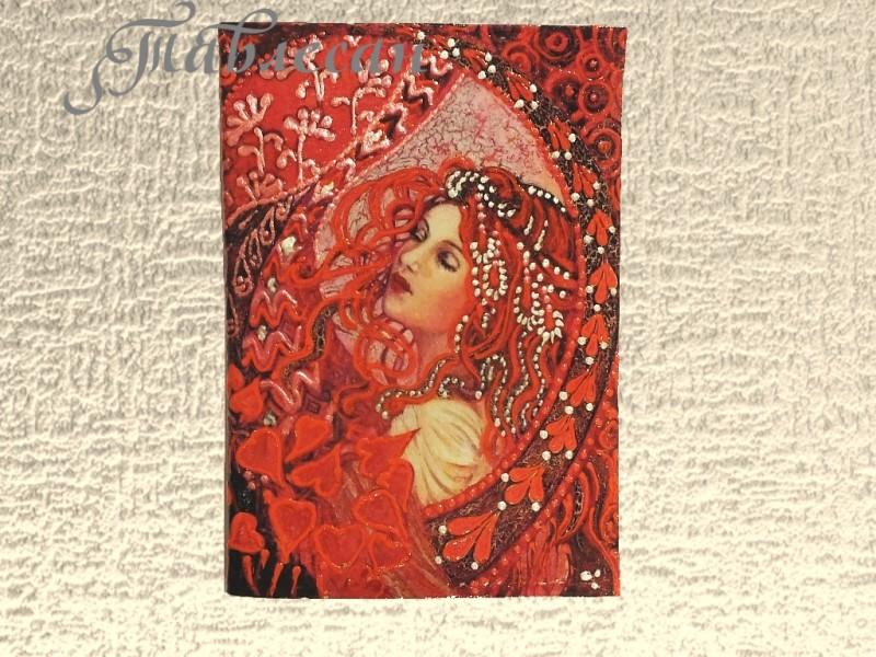 Обложка для паспорта и визитница Дама сердец кожа