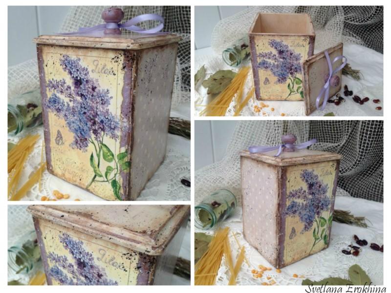 Шкатулка - короб Веточка сирени