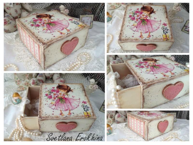 Короб - шкатулка Девочка в розовом