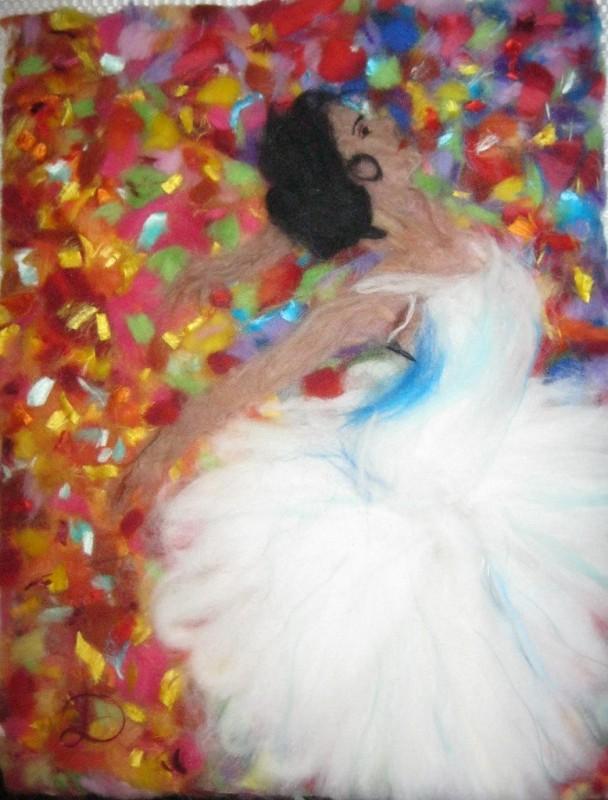 Осенний танец,картина шерстью