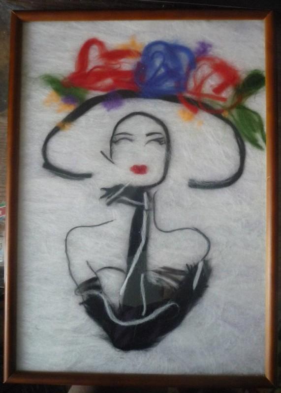 Дама в шляпе,картина шерстью