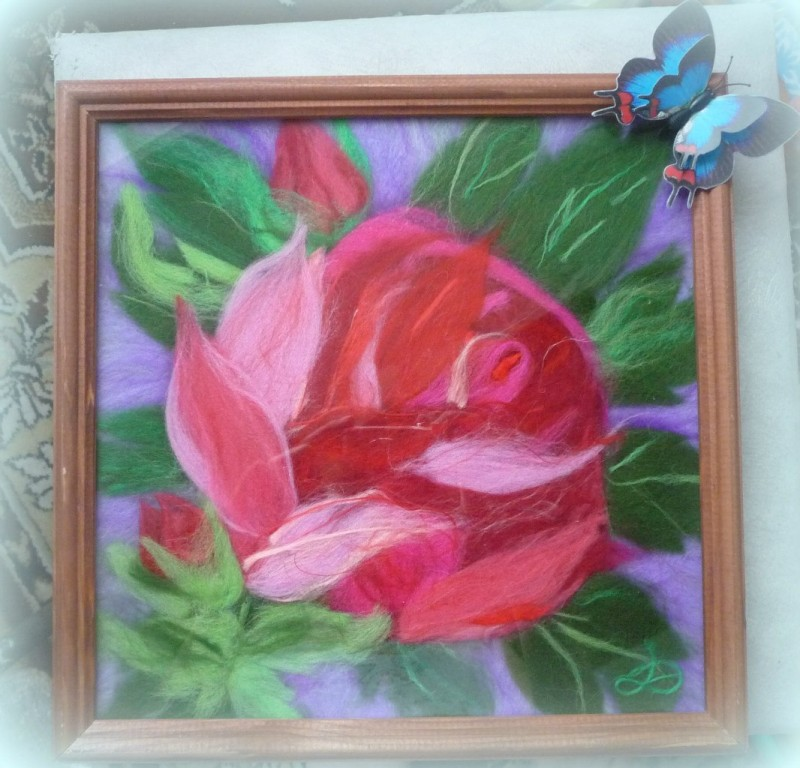 Роза,картина шерстью