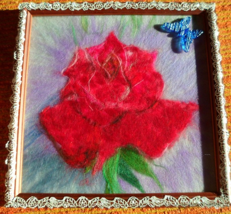 Аленький цветочек,картина шерстью
