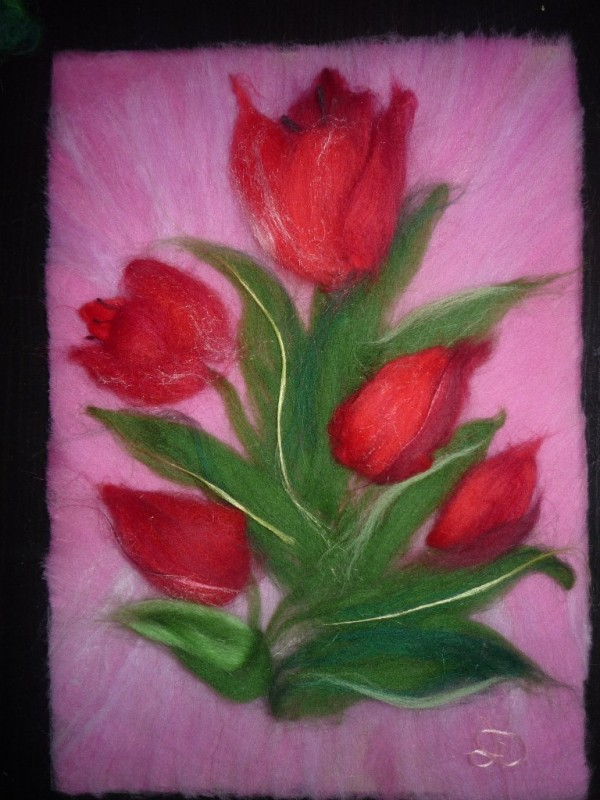 Тюльпаны,картина шерстью