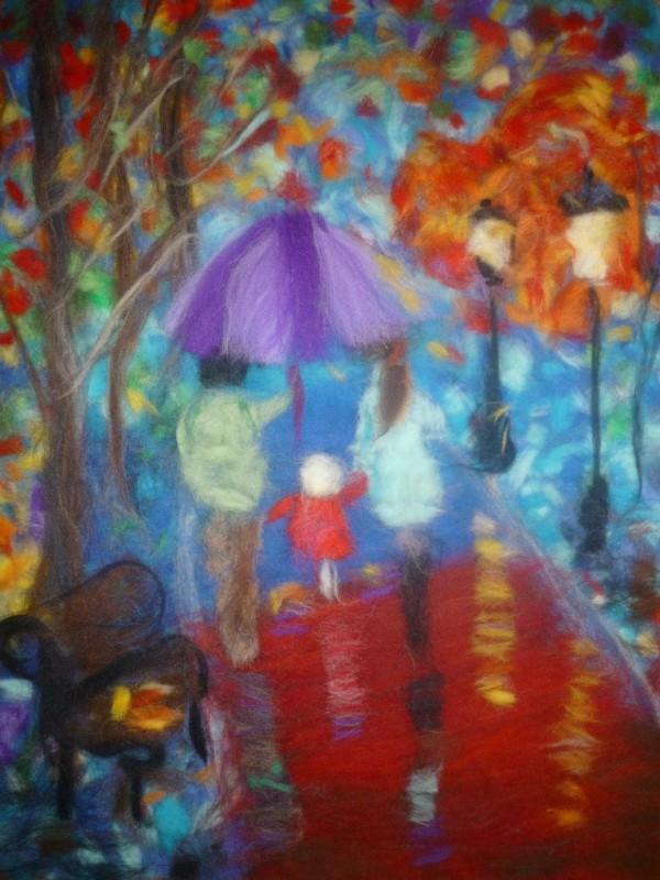 Осень,картина шерстью